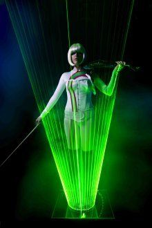 Laser Violin show. This visually stunning act combines LED lights and the Violin to create a stunning show that can be hired in London and the UK.
