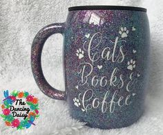 Cats, Books and Coffee - 14 oz traditional mug – The Dancing Daisy Designs Personalized Tumblers, Custom Tumblers, Coffee Tumbler, Coffee Cups, Wine Tumblers, Glitter Tumblers, Traditional Mugs, Dancing Daisy, Long Drink