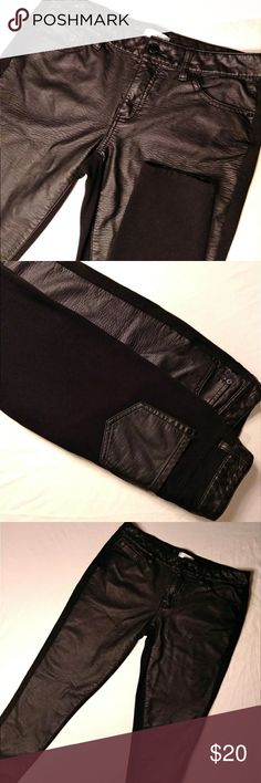 🏍Bisou Bisou Michele Bohbot Faux Moto Leggings 🏍 NWOT! Never worn.  Perfect condition.  Bisou Bisou Michele Bohbot Faux Leather Moto Leggings.  Front half is leather,  as well as back pockets.  The back of the pants are super soft,  black legging material.  They're beautiful. Size 6. No rips,  stains,  or tears.  Great with a pair of boots! Enjoy.  Black. Bisou Bisou Pants Leggings