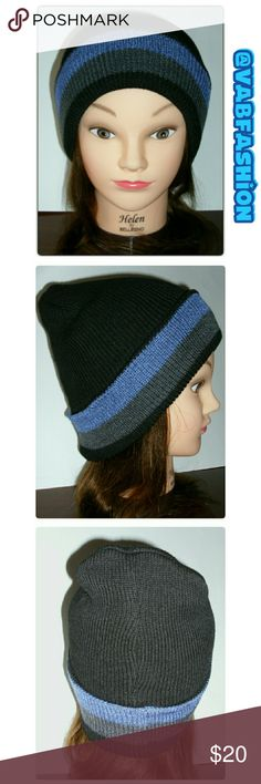 FLEECE LINED THICK KNIT BEANIE Thick black knit beanie with super soft fleece lining! Black with thick blue and gray stripes. Available in 3 colors! See other listings! vabfashion Accessories