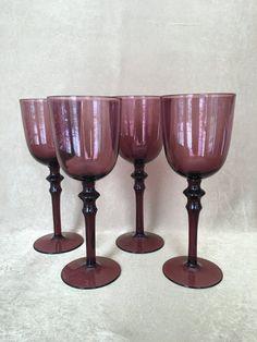 Amethyst Wine Glass Hand Blown Vintage Barware by DotnBettys