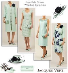 Pale green and navy Mother of the Bride outfits. Spring wedding looks from Jacques Vert collection