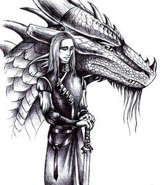 Oromis and Glaedr. Sketch by Deygira-Blood.deviantart.com on @DeviantArt