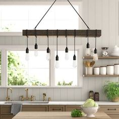 Lyn 8 - Light Kitchen Island Bulb Pendant with Nylon Accents & Reviews | Birch Lane Kitchen Island Lighting, Kitchen Lighting Fixtures, Kitchen Lighting Design, Chandelier Kitchen Island, Lights For Kitchen, Kitchen Island Finishes, Build Kitchen Island, Country Kitchen Lighting, Kitchen Lighting Over Table