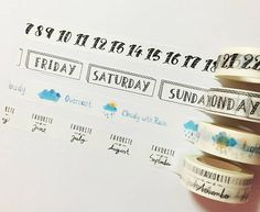 Days of the Week Washi Tape, Months of the Year Washi Tape, Japanese Washi Masking Tape, Calendar Ta Masking Tape, Washi Tape, Bujo, Dental Braces, Months In A Year, Planner Stickers, Weather, Writing, Lettering