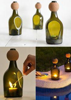 Inspirierende Bastel- und Upcycling Ideen mit Weinflaschen Wine Bottle Art, Glass Bottle Crafts, Wine Bottles, Cutting Glass Bottles, Bottle Cutter, Oil Candles, Upcycle, Decoration, Jar Candle