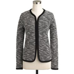 J.Crew Stretch bouclé jacket ($148) ❤ liked on Polyvore featuring outerwear, jackets, blazers, winter, stretch jacket, slim fit jacket, j.crew, slim jacket and shiny jacket