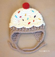 One of my good friends has a sweet 3 month old baby girl who sports the most adorable knitted cupcake hat. The second I saw it, I knew I had to make a crocheted version! I had the vision in my mind of how I was going to make it and am so excited that it turned out just how I had imagined it. But I am going to warn you, this hat takes longer to put together than most of my others. There are a lot of little embellishments and different stitches to make. Also, I am sure you guys were hoping…
