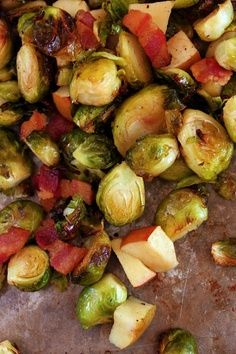 roasted brussel sprouts with apple and bacon....i made everything in a skillet, and used balsamic vinegar instead of red wine vinegar, and added feta as well......YUMMERS! http://samstermommy.blogspot.com/2011/05/roasted-brussel-sprouts-bacon-apples.html?m=1