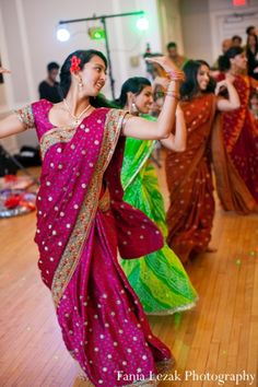 green and purple sari