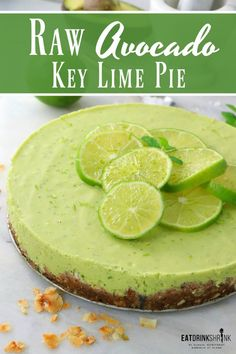 I'm happy to say, that I'm an avocado kick. I probably have avocados just about every day, but in addition to them being a good breakfast and snack, they are amazing to throw into various dishes, especially desserts! Avocado Pie, Avocado Dessert, Avocado Recipes, Avocado Toast, Key Lime Pie Cheesecake, Avocado Cheesecake, Vegan Key Lime Pie, Vegan Pie, Best Nutrition Food
