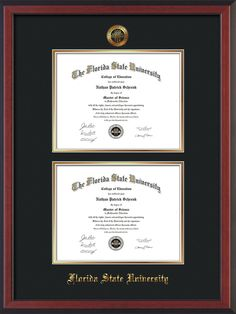 FSU Diploma Frame - C Rever - w/FSU Seal - Dbl Diploma - Black on Gold – Professional Framing Company