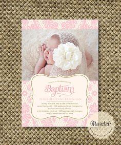Girl Baptism or Dedication Invitation. I por RoxterDesigns en Etsy