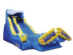 The Wipeout is an inflatable water slide with a splash zone and misting system. Great for summer parties or events. Need a regular water hose to connect misting system to. Good for ages 5 and up, maximum 200 pounds/person. Call 800 873-8989 to rent.