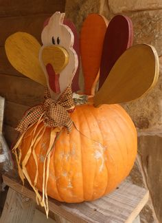This is a Wood Turkey Kit for your pumpkin to decorate your table, porch or any room in your home. I have created this Turkey kit using 1 2 plywood and finishing nails (nails are already inserted into each piece of wood) for inserting into the pumpkin. Diy Pumpkin, Pumpkin Crafts, Pumpkin Ideas, Halloween Crafts, Holiday Crafts, Autumn Crafts, Holiday Fun, Diy Projects For Fall, Fall Crafts For Adults