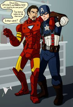 "Brony Stark...and Steve's face is just like ""Why did I wake up in this time period? I miss the 40s."""