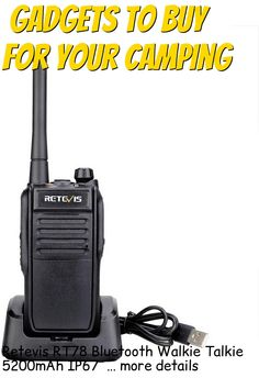 (This is an affiliate pin) Retevis RT78 Bluetooth Walkie Talkie 5200mAh IP67 Waterproof Real Time Positioning Handheld High Power Dual Frequency Two Way Radio(Black,1 Pack) Camping Gadgets, Two Way Radio, Walkie Talkie, Bluetooth, Positivity, Optimism