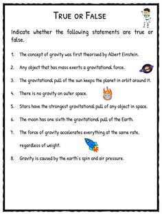 Gravity Facts & Worksheets For Kids Sequencing Worksheets, Free Kindergarten Worksheets, Science Worksheets, Science Lessons, Lessons For Kids, Worksheets For Kids, Science Fun, Science Activities, Gravity Experiments