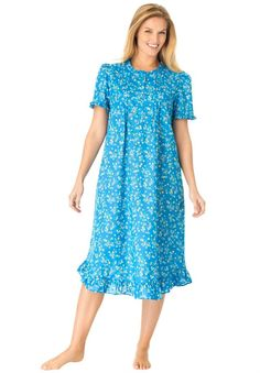 Dreams & Co. Women's Plus Size Printed Nightgown at Amazon Women's Clothing store:
