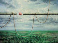 Ook dit schilderij 'Van enig resultaat viel niets te bekennen' uit 2000 is van Jan van Dis. Hij schildert objecten in vreemde combinaties die zich tussen hemel en aarde bewegen. Museum, Kunst, Museums