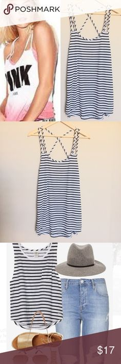 """VS PINK Nautical Stripe Strappy Tank Top Size: S VIctoria's Secret PINK Nautical Stripe Strappy Tank Top  Beautiful striped high low top with a lovely unique strap design. Lightweight and comfortable perfect for summer!  Size: S Material: 70% Modal 30% polyester  *Measurements: Underarm to underarm: 17.5"""" Front Length: 28"""" Back Length: 30.5""""  Let me know if you have any questions! Happy Poshing! 🙂 PINK Victoria's Secret Tops Tank Tops"""