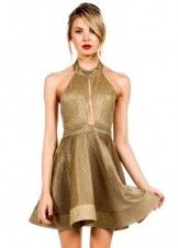 Shimmer on with this non-stretchy, open halter dress features an keyhole front, open back, a flared skirt, a fit-and-flare design with shimmer throughout. Finished with hidden hook and eye closures and a hidden zippered closure on the back. Gold Party Dress, Sequin Cocktail Dress, Short Cocktail Dress, Gold Dress, Dress Up, After Prom Dresses, Prom Party Dresses, Red Holiday Dress, Holiday Dresses