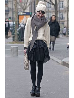 Paris Fashion Week Street Style Fall 2012 - Fall Fashion Week Street Style - Marie Claire tights tulle chunky knits
