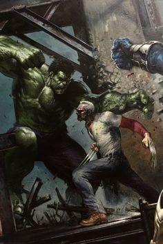 Hulk vs Wolverine, Civil War II Variant cover by Gabriele Dell Otto Marvel Vs, Marvel Comics Art, Marvel Heroes, Comic Book Artists, Comic Book Characters, Marvel Characters, Comic Books Art, Marvel Universe, Cinema Art