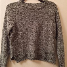 heathered dark grey sweater  perfect lightweight sweater, heathered, very comfy, easy to layer with // only worn 3-4 times Sweaters Crew & Scoop Necks