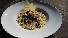 Mushroom risotto with parmesan chips.