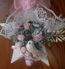 shabby pink victorian christmas open snow star bird  ornament  chic roses