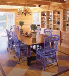 painted furniture in the dining room of a Massachusetts beach house
