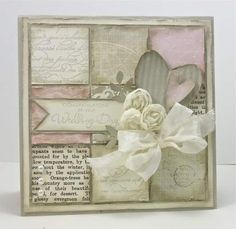 Cardstock: Sahara Sand, Very Vanilla, Fan Fair DSP, Newsprint DSP (retired). Ink: Sahara Sand. Stamp Sets: Occasional Quotes (retired), French Foliage.  Other Products: Vanilla Flower Trim, Basic Pearls, Heart Punch, Crimper, Bird Punch, Very Vanilla Seam Binding, Lacy Brocade Emb. Folder