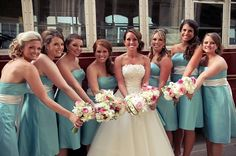 Want to create your bridal party but don't know where to start? Wondering how many bridesmaids is too many? Rustic Bridesmaid Dresses, Bridesmaid Dress Styles, Wedding Dresses, How Many Bridesmaids, Wedding Bridesmaids, Blue Red Wedding, Hair Styles 2014, Wedding Hairstyles For Long Hair, Bridesmaid Hairstyles