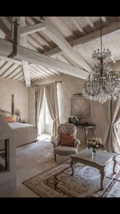 French Country Style Interiors - Rooms with French Country Decor and DIY French Country Decor: DIY French Country Home Decor Projects and Ideas, French Country Decorating, Rustic Farmhouse Crafts With Step by Step Tutorials, Ideas & Inspiration French Country Bedrooms, French Country Living Room, French Cottage, French Country Style, Bedroom Country, Country Chic, Country Bathrooms, French Chic, Rustic Grey Bedroom