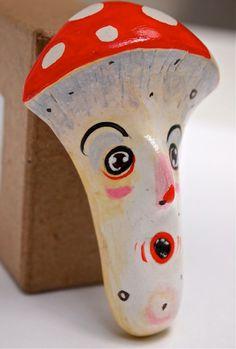 Clay Brooch, Hand Painted Pin, Red Toadstool, Mr Mushroom