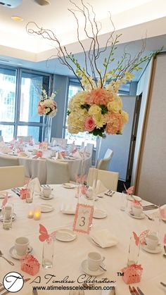 Wedding Flower Centerpiece: White & Pink Roses, Hydrangeas, Dendrobium Orchids, Curly Willow in Cylinder Vase - A Timeless Celebration Montreal Florist