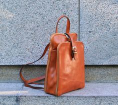 Womens Orange Leather Backpack genuine leather by TimeResistance