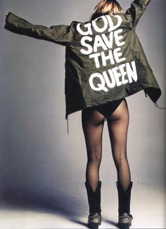 "2002 image by Craig McDean of Kate Moss wearing a jacket and reading ""God Save the Queen,"" with an estimate of £40,000 to £60,000"
