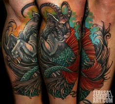 Super cool capricorn tattoo Artist: Teresa Sharpe