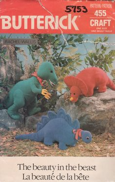 Butterick 455 5753 1980s  Designer Dinosaurs Sewing Pattern by mbchills
