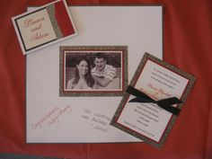 Three layer Wedding Invitation, Thank You Notecards, and Memory Board with their engagement photo.