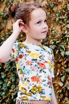 Floral Tee with Ruched Sleeves by ThePetitArtiste on Etsy, $18.00