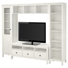 "HEMNES TV storage combination - white stain - IKEA  Width: 97 1/4 "" Min. depth: 14 5/8 "" Max. depth: 18 1/2 "" Height: 77 1/2 """