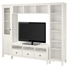 "HEMNES TV storage combination - white stain - IKEA Width: 97 1/4 "" Min. depth: 14 5/8 "" Max. depth: 18 1/2 "" Height: 77 1/2 """