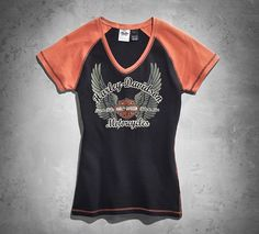 Women's Horizon V-Neck Tee | Tees | Official Harley-Davidson Online Store size XL