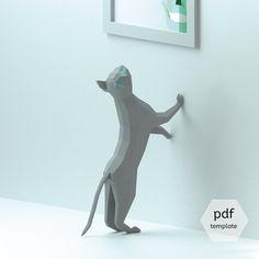 3D Papercraft Cat, 3D PDF Template, Papercraft Animals, Low Poly DIY, DIY Paper 3D Art, Diy Paper Statue, Papercrafting, Perfect on a desk!