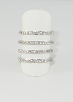 Melanie Auld Silver Pave Four Tier Ring