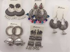 Jewelryclub - Shop from the latest collection of Earrings for women & girls online. Buy studs, ear cuff, drop & more Earrings at best price, COD. Jewelry Design Earrings, Cute Jewelry, Metal Jewelry, Jewelry Accessories, Silver Jewellery Indian, Indian Jewellery Design, Silver Jewelry, Buy Jewellery Online, Oxidised Jewellery