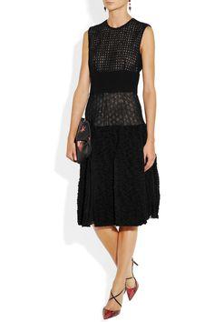 Giambattista Valli|Bouclé-paneled embroidered mesh dress|NET-A-PORTER.COM